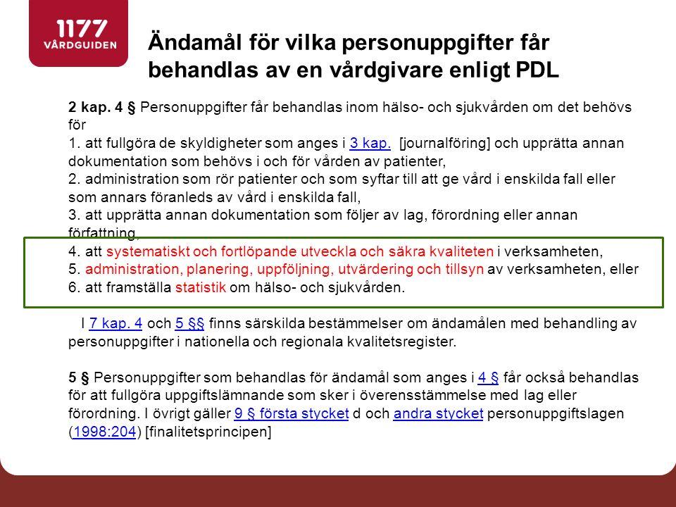 Ändamål för vilka personuppgifter får behandlas av en vårdgivare enligt PDL 2 kap.