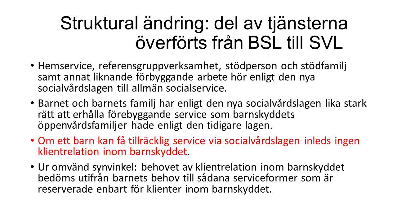 Struktural ändring: del av tjänsterna överförts från BSL till SVL Hemservice, referensgruppverksamhet, stödperson och stödfamilj samt annat liknande förbyggande arbete hör enligt den nya socialvårdslagen till allmän socialservice.