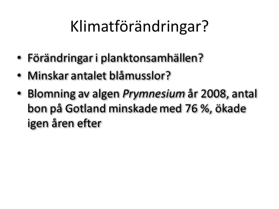 Klimatförändringar.Förändringar i planktonsamhällen.