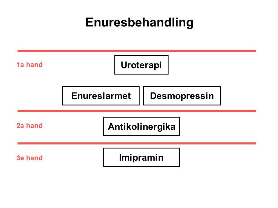 EnureslarmetDesmopressinAntikolinergika Imipramin Uroterapi 1a hand 2a hand 3e hand Enuresbehandling