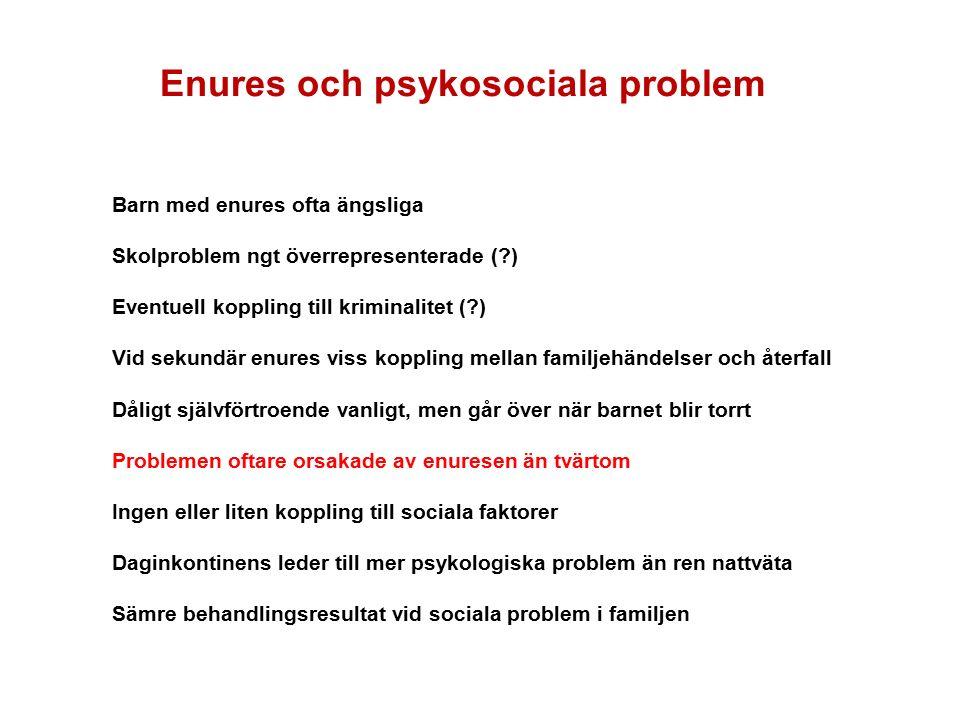 Enures och psykosociala problem Barn med enures ofta ängsliga Skolproblem ngt överrepresenterade ( ) Eventuell koppling till kriminalitet ( ) Vid sekundär enures viss koppling mellan familjehändelser och återfall Dåligt självförtroende vanligt, men går över när barnet blir torrt Problemen oftare orsakade av enuresen än tvärtom Ingen eller liten koppling till sociala faktorer Daginkontinens leder till mer psykologiska problem än ren nattväta Sämre behandlingsresultat vid sociala problem i familjen