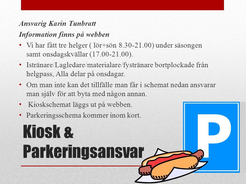 Kiosk & Parkeringsansvar Ansvarig Karin Tunbratt Information finns på webben Vi har fått tre helger ( lör+sön 8.30-21.00) under säsongen samt onsdagskvällar (17.00-21.00).