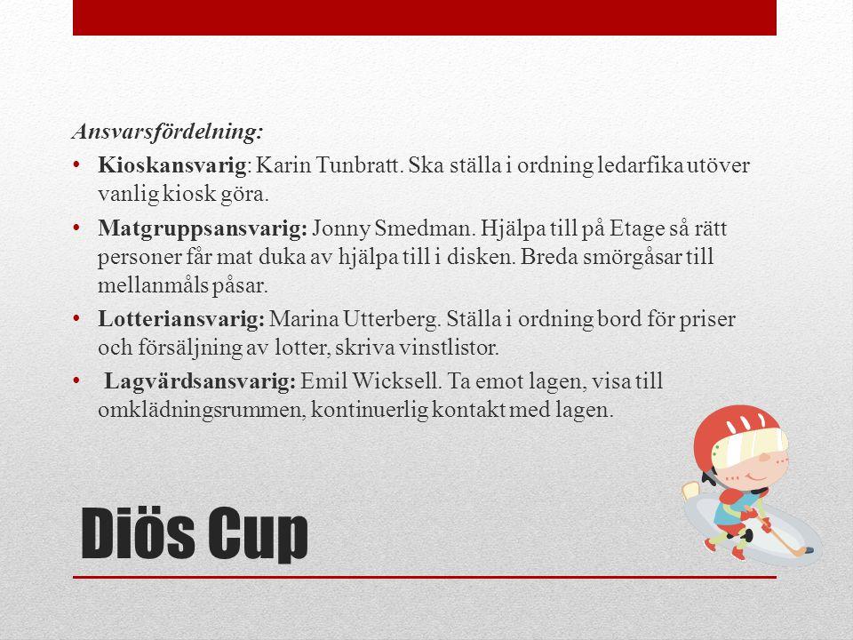 Diös Cup Ansvarsfördelning: Kioskansvarig: Karin Tunbratt.