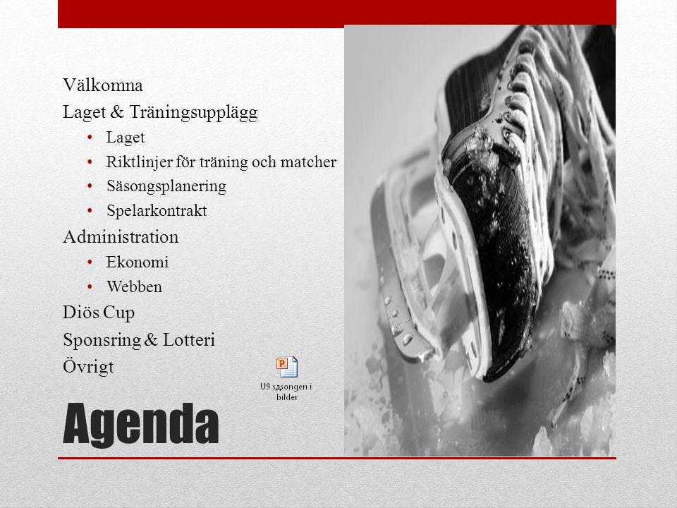 Agenda Välkomna Laget & Träningsupplägg Laget Riktlinjer för träning och matcher Säsongsplanering Spelarkontrakt Administration Ekonomi Webben Diös Cup Sponsring & Lotteri Övrigt
