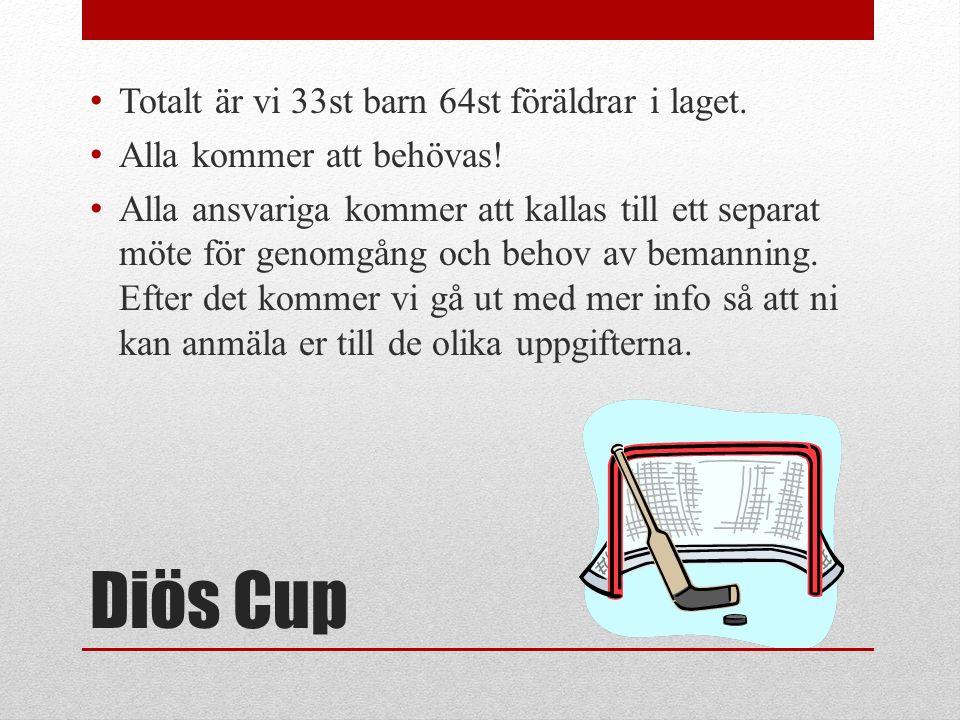 Diös Cup Totalt är vi 33st barn 64st föräldrar i laget.
