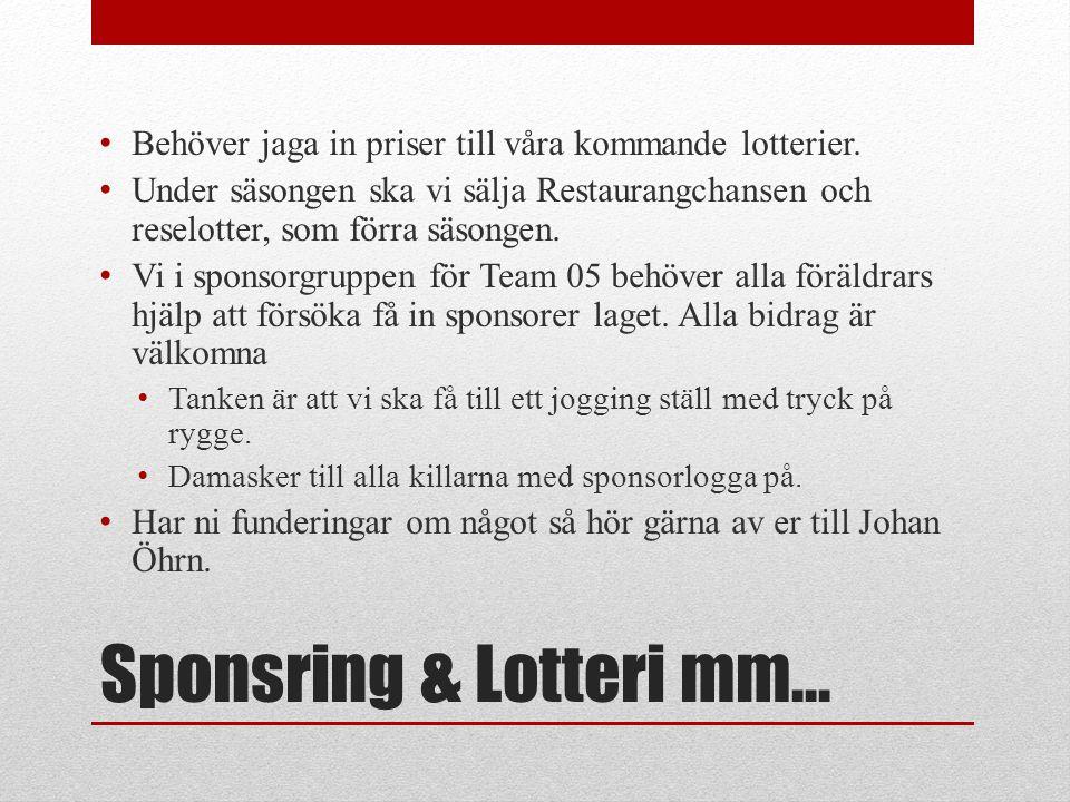 Sponsring & Lotteri mm… Behöver jaga in priser till våra kommande lotterier.