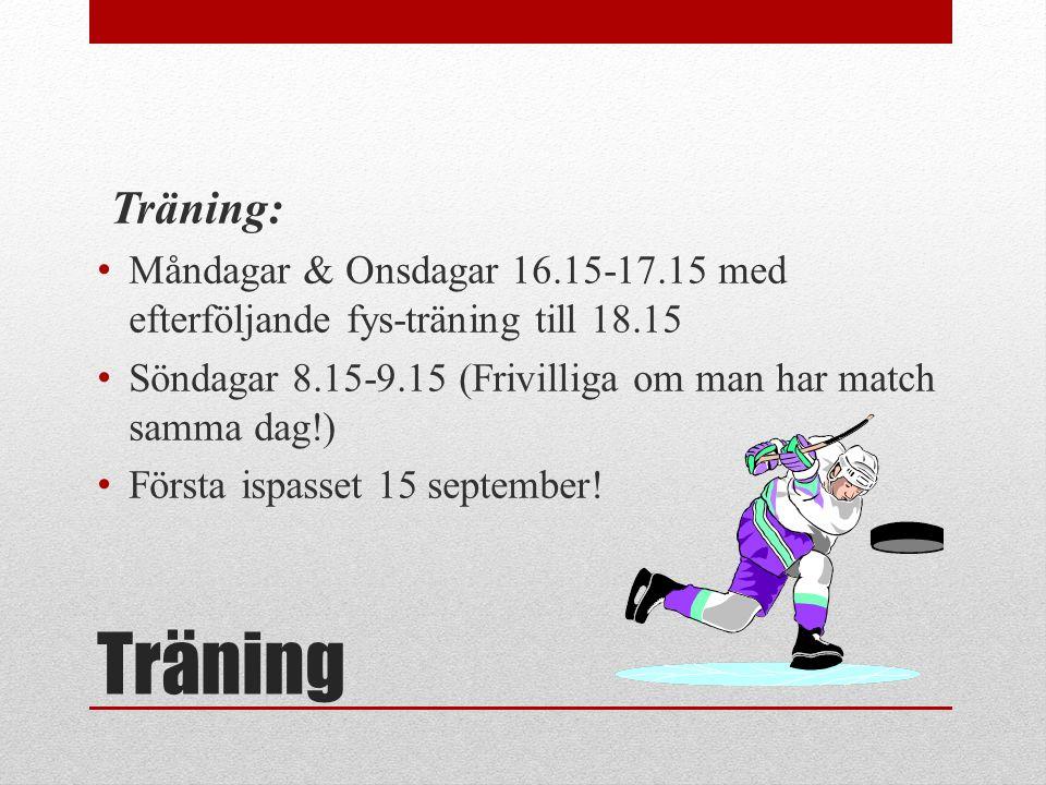 Träning Träning: Måndagar & Onsdagar 16.15-17.15 med efterföljande fys-träning till 18.15 Söndagar 8.15-9.15 (Frivilliga om man har match samma dag!) Första ispasset 15 september!