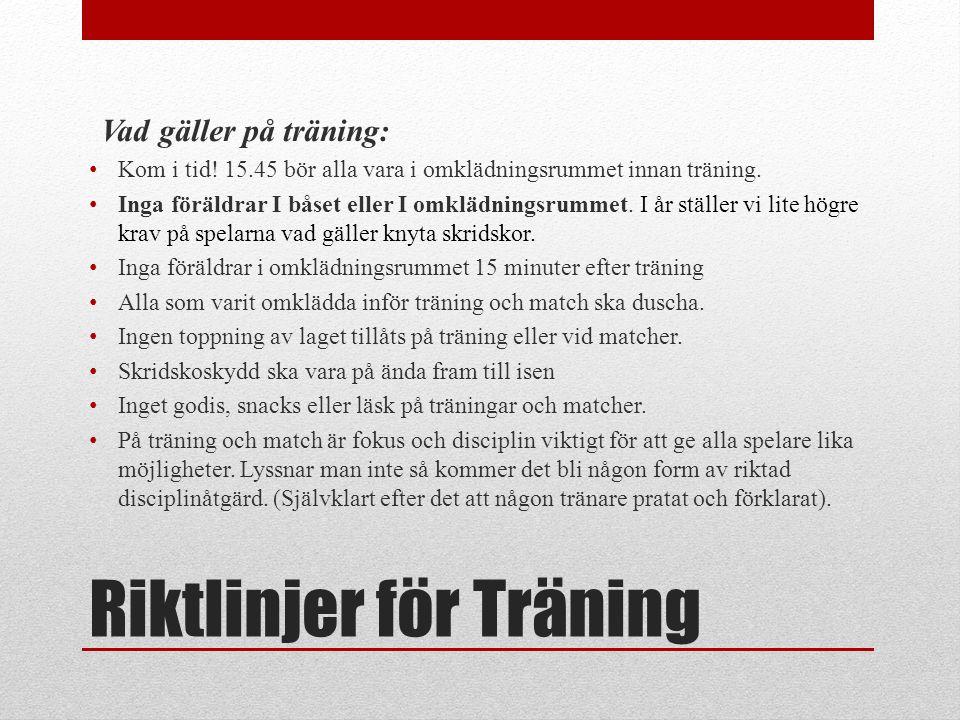 Riktlinjer för Träning Vad gäller på träning: Kom i tid.