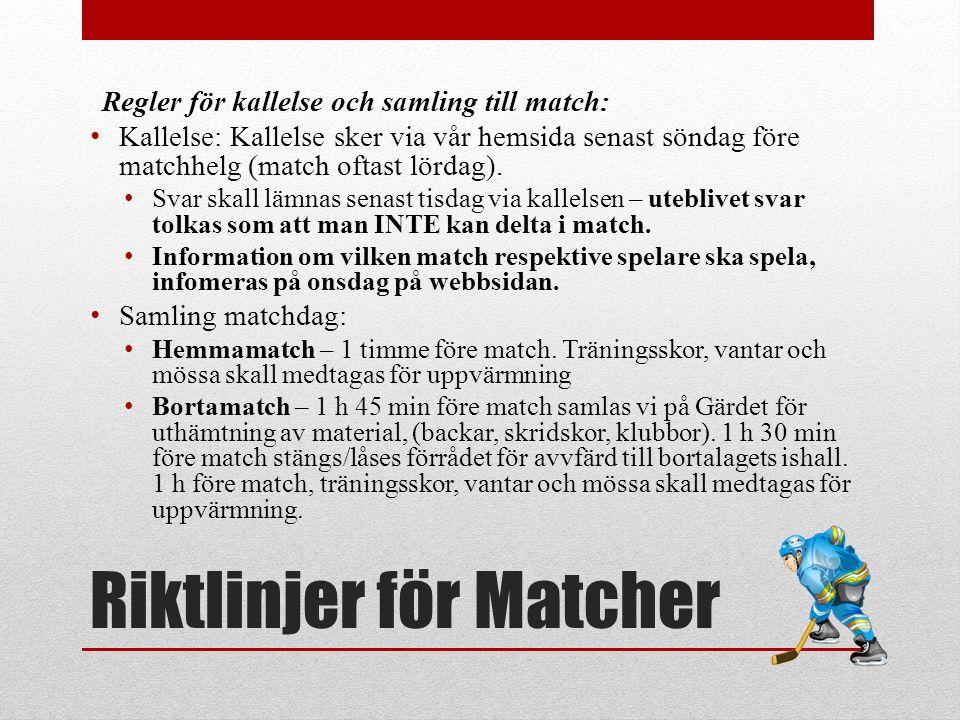 Riktlinjer för Matcher Regler för kallelse och samling till match: Kallelse: Kallelse sker via vår hemsida senast söndag före matchhelg (match oftast lördag).