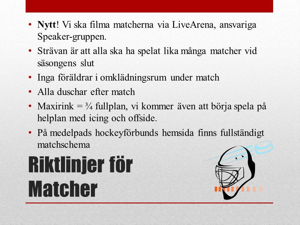 Riktlinjer för Matcher Nytt. Vi ska filma matcherna via LiveArena, ansvariga Speaker-gruppen.