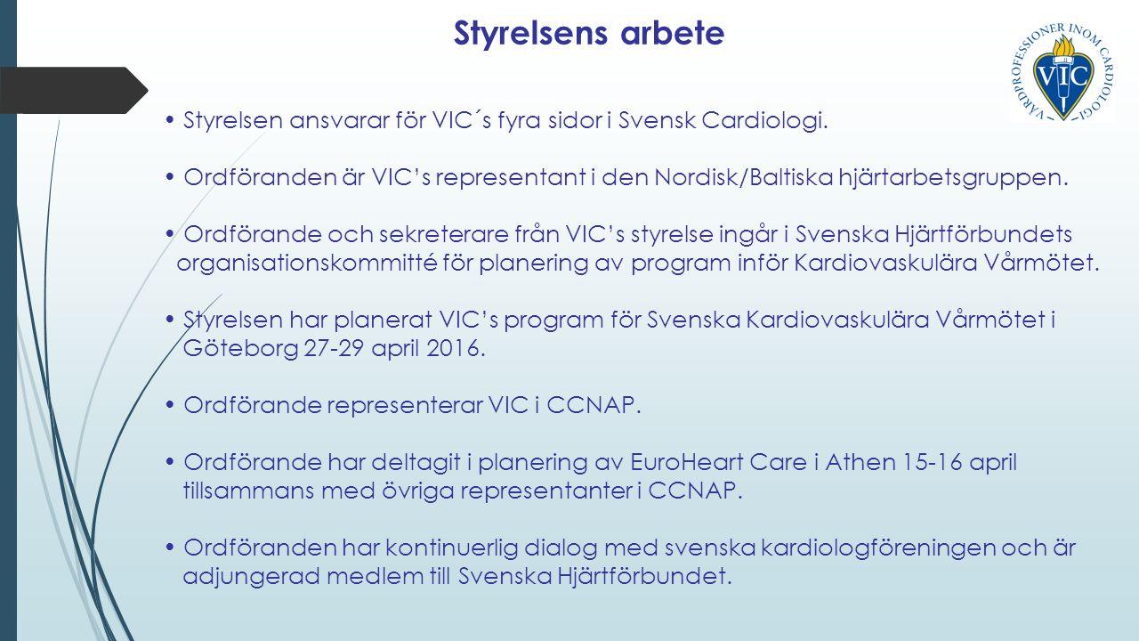 Styrelsens arbete, forts Ordföranden representerar VIC i SWEDEHEART:s styrgrupp.