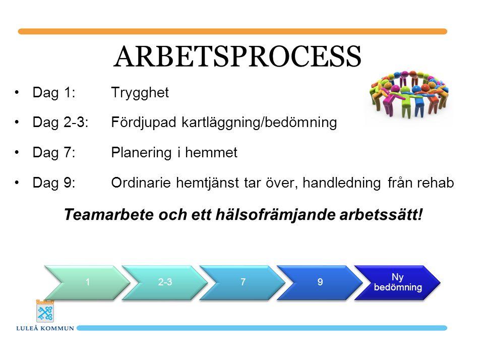 Dag 1: Trygghet Dag 2-3: Fördjupad kartläggning/bedömning Dag 7:Planering i hemmet Dag 9:Ordinarie hemtjänst tar över, handledning från rehab Teamarbete och ett hälsofrämjande arbetssätt.