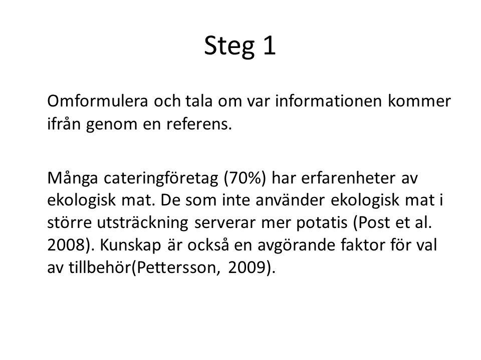 Steg 1 Omformulera och tala om var informationen kommer ifrån genom en referens.