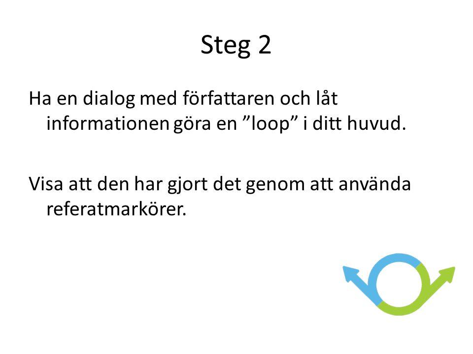 Steg 2 Ha en dialog med författaren och låt informationen göra en loop i ditt huvud.