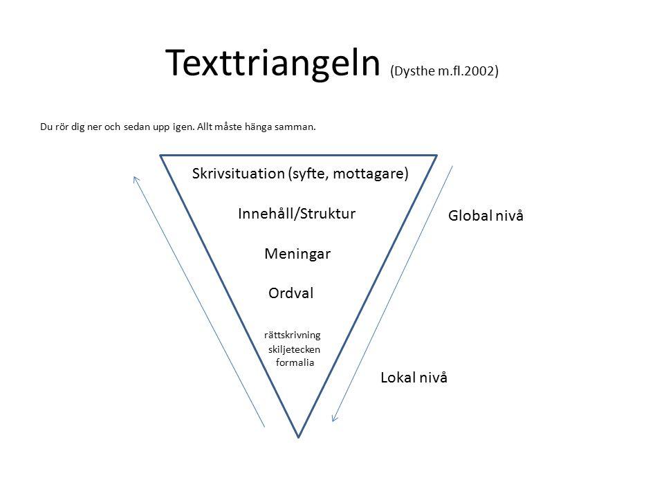 Texttriangeln (Dysthe m.fl.2002) Du rör dig ner och sedan upp igen.