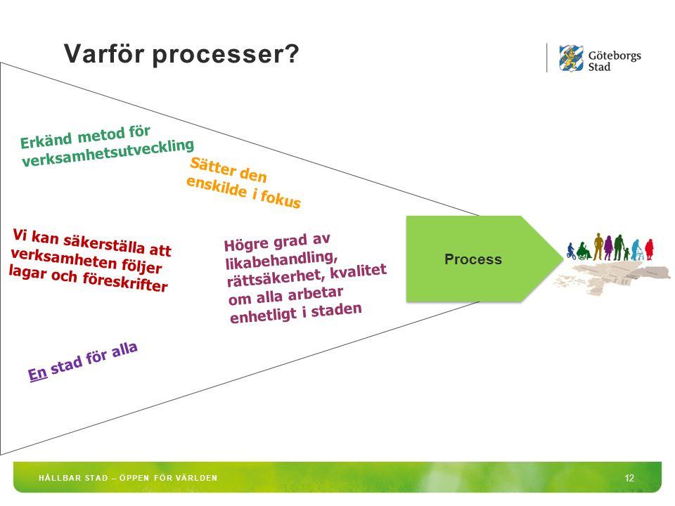 Varför processer? 12 HÅLLBAR STAD – ÖPPEN FÖR VÄRLDEN Erkänd metod för verksamhetsutveckling Sätter den enskilde i fokus Vi kan säkerställa att verksa