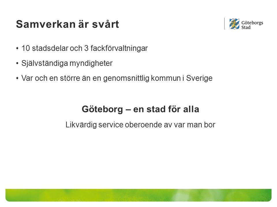 Samverkan är svårt 10 stadsdelar och 3 fackförvaltningar Självständiga myndigheter Var och en större än en genomsnittlig kommun i Sverige Göteborg – en stad för alla Likvärdig service oberoende av var man bor