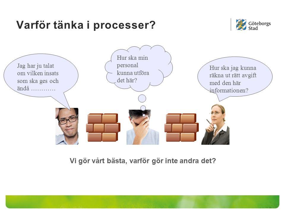 Varför tänka i processer? Jag har ju talat om vilken insats som ska ges och ändå ………… Hur ska jag kunna räkna ut rätt avgift med den här informationen