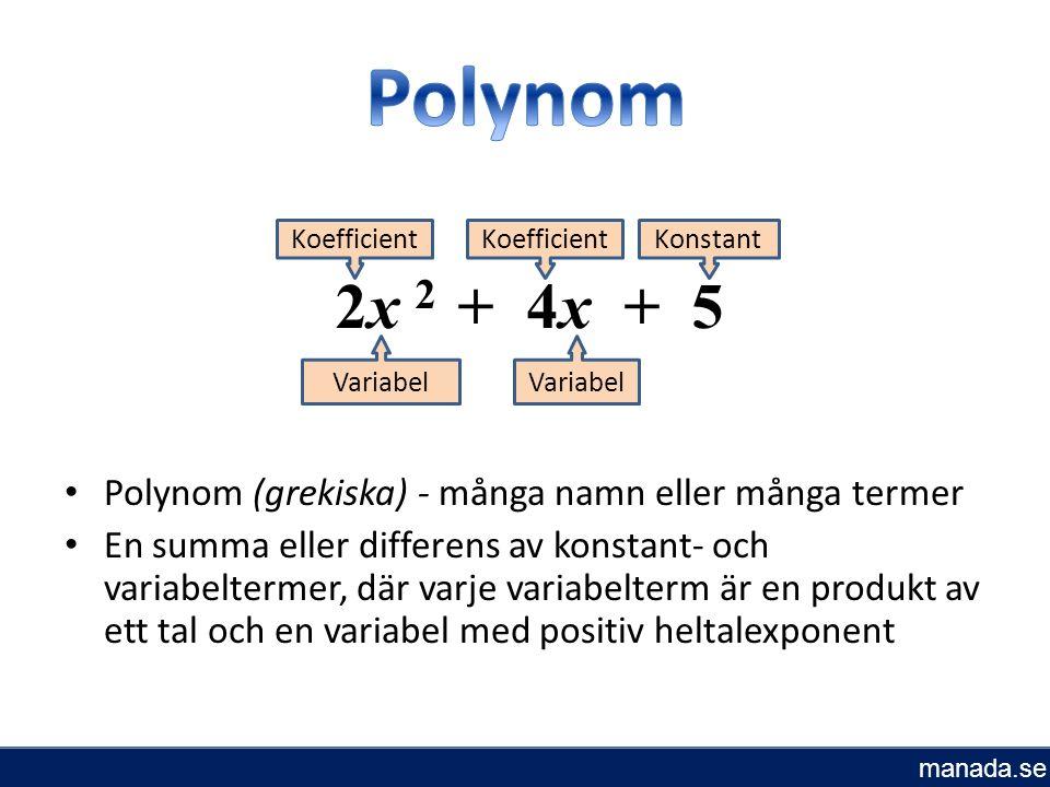 Polynom (grekiska) - många namn eller många termer En summa eller differens av konstant- och variabeltermer, där varje variabelterm är en produkt av ett tal och en variabel med positiv heltalexponent Variabel 2x 2 + 4x + 5 Koefficient Konstant manada.se