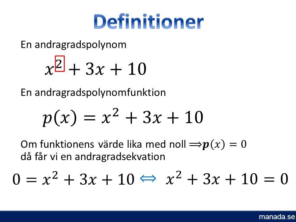 En andragradspolynom En andragradspolynomfunktion ⟺ manada.se