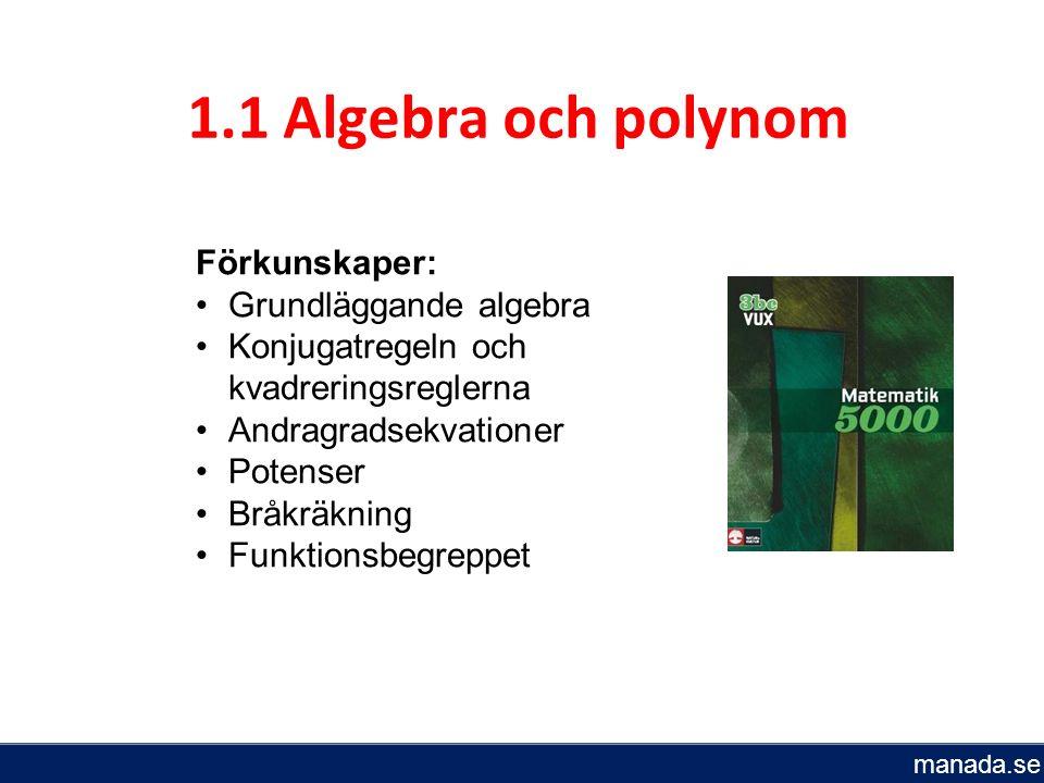 Du ska kunna förenkla och använda uttryck med polynom lösa några enkla polynomekvationer av högre grad lösa polynomekvationer av högre grad med algebraiska och grafiska metoder använda polynomekvationer vid problemlösning rita grafer för polynomfunktioner ställa upp, förenkla och använda rationella uttryck bestämma nollställen, definitionsmängd och värmemängd till rationella funktioner Bestämma gränsvärden i några enkla fall känna till vad som menas med en diskret respektive kontinuerlig funktion