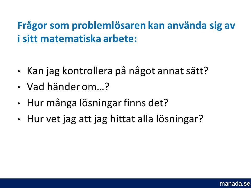 Frågor som problemlösaren kan använda sig av i sitt matematiska arbete: Kan jag kontrollera på något annat sätt.