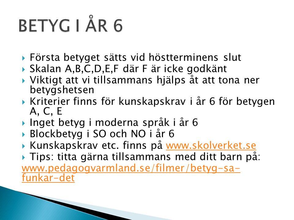  Första betyget sätts vid höstterminens slut  Skalan A,B,C,D,E,F där F är icke godkänt  Viktigt att vi tillsammans hjälps åt att tona ner betygshetsen  Kriterier finns för kunskapskrav i år 6 för betygen A, C, E  Inget betyg i moderna språk i år 6  Blockbetyg i SO och NO i år 6  Kunskapskrav etc.