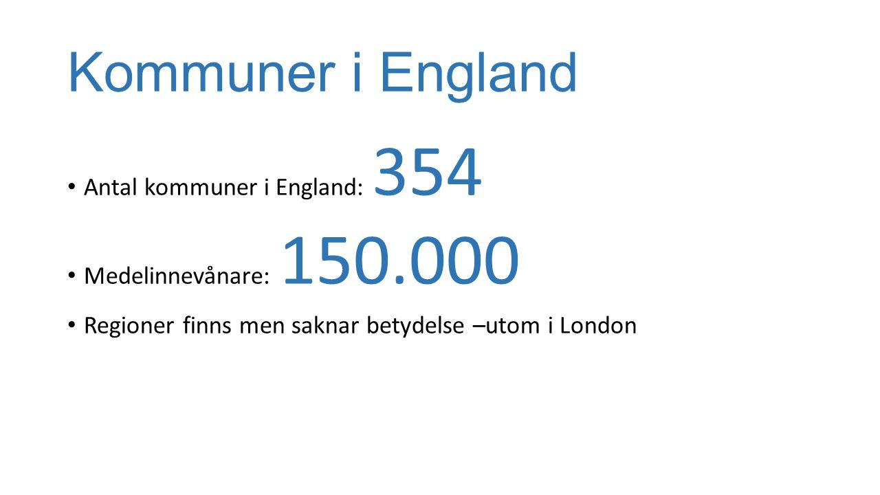 Kommuner i England Antal kommuner i England: 354 Medelinnevånare: 150.000 Regioner finns men saknar betydelse –utom i London