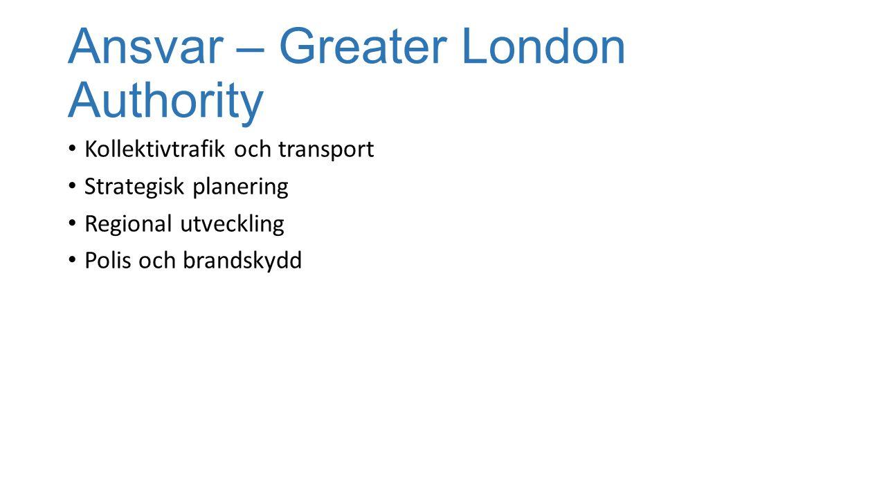 Ansvar – Greater London Authority Kollektivtrafik och transport Strategisk planering Regional utveckling Polis och brandskydd
