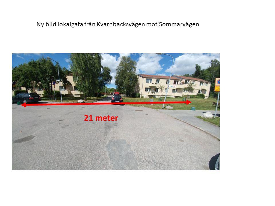 21 meter Bild 5: Sommarvägen från Spetsvägen/Kvarnbacksvägen till Iris Koloniförening.