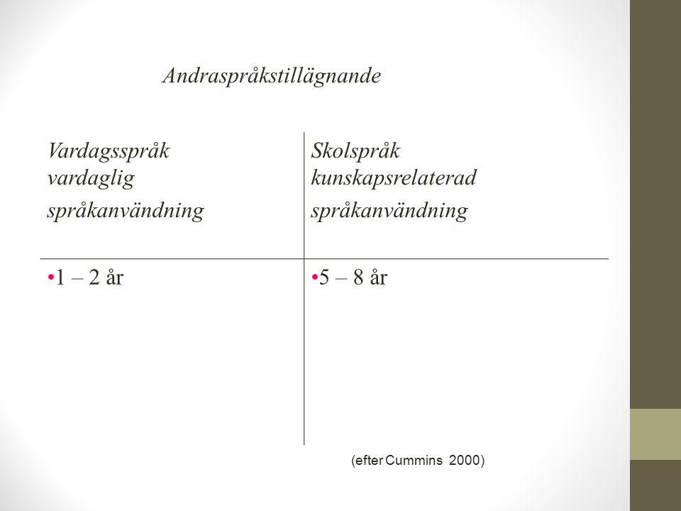 Vardagsspråk vardaglig språkanvändning Skolspråk kunskapsrelaterad språkanvändning 1 – 2 år5 – 8 år Andraspråkstillägnande (efter Cummins 2000)