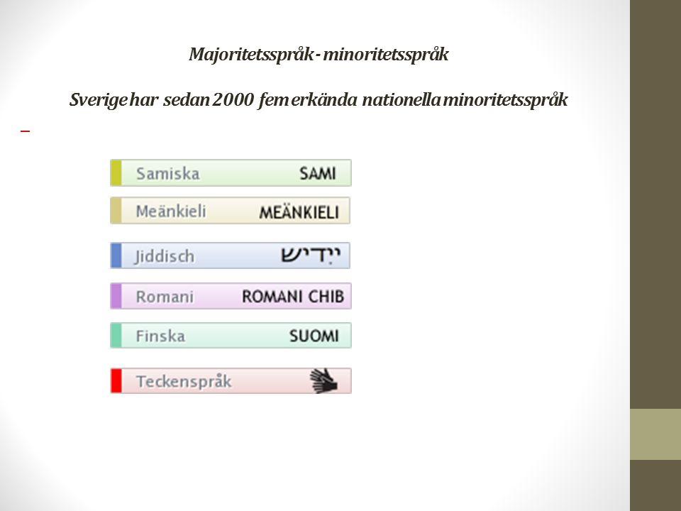 Majoritetsspråk - minoritetsspråk Sverige har sedan 2000 fem erkända nationella minoritetsspråk