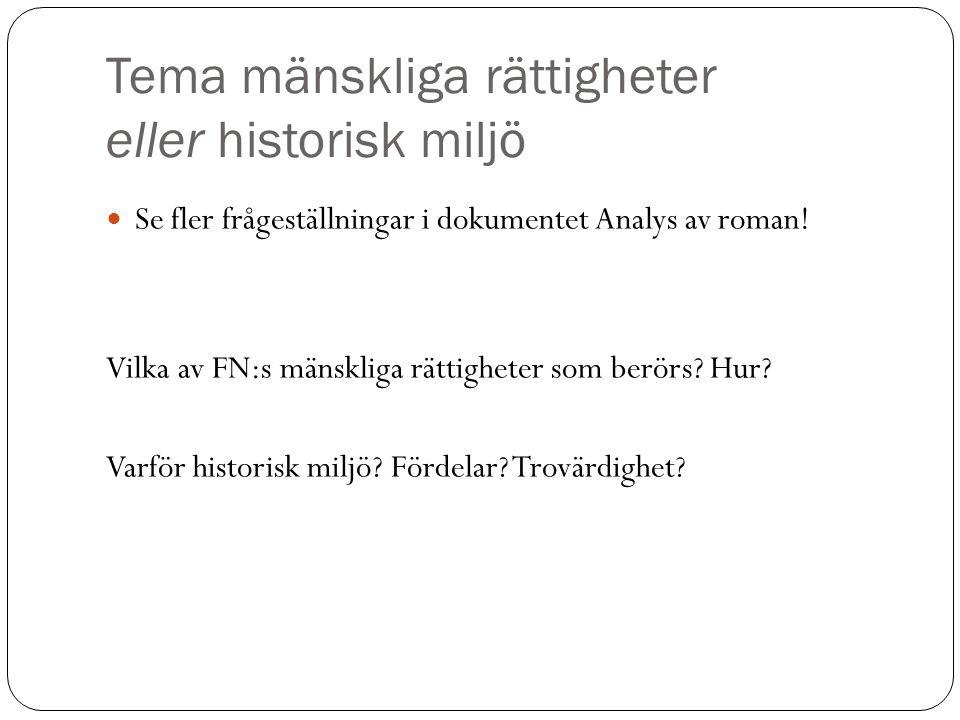 Tema mänskliga rättigheter eller historisk miljö Se fler frågeställningar i dokumentet Analys av roman.