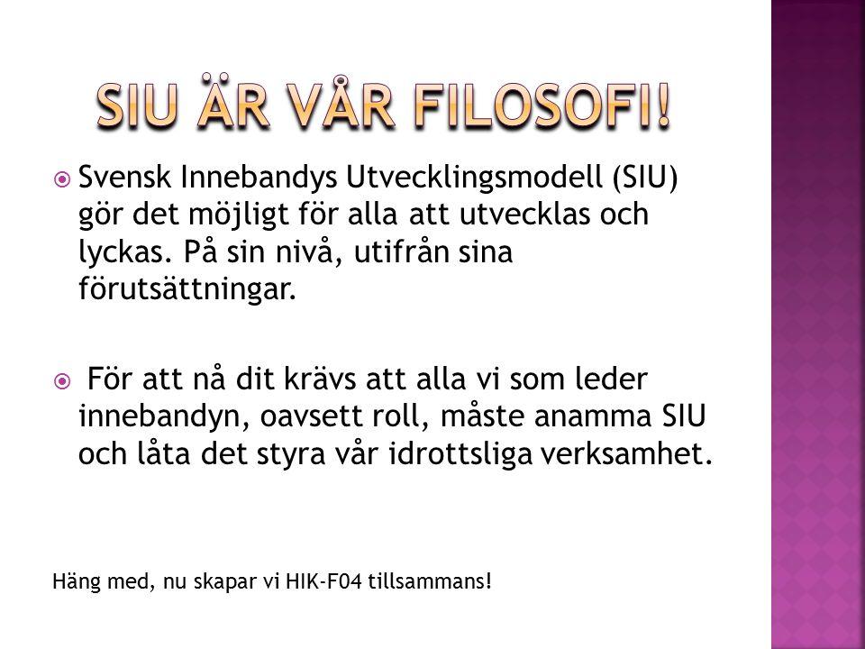  Svensk Innebandys Utvecklingsmodell (SIU) gör det möjligt för alla att utvecklas och lyckas.