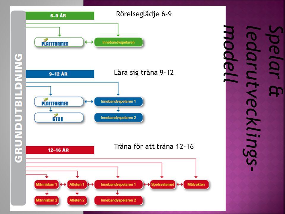 Lära sig träna 9-12 Träna för att träna 12-16 Rörelseglädje 6-9 Spelar & ledarutvecklings- modell