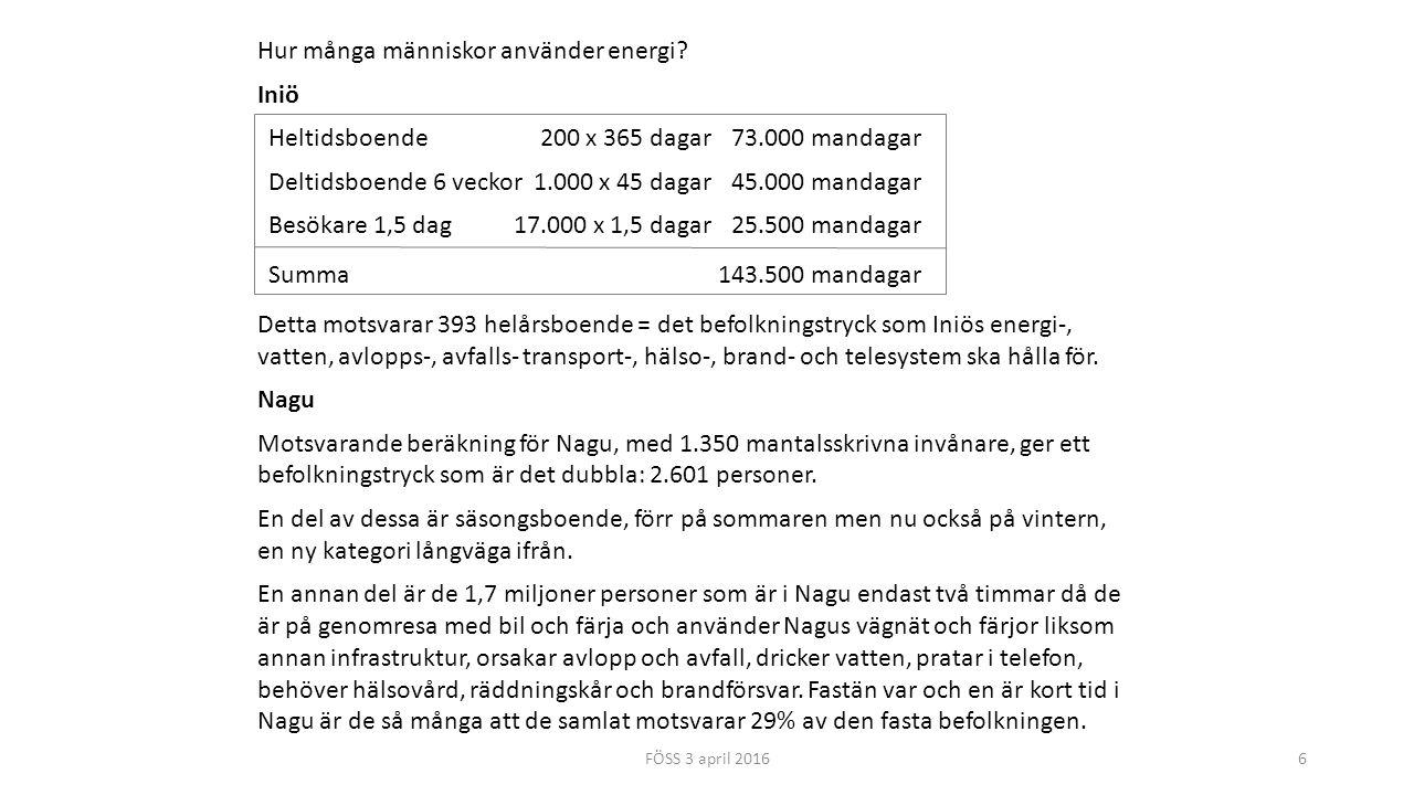 6 Hur många människor använder energi? Iniö Heltidsboende200 x 365 dagar73.000 mandagar Deltidsboende 6 veckor1.000 x 45 dagar45.000 mandagar Besökare