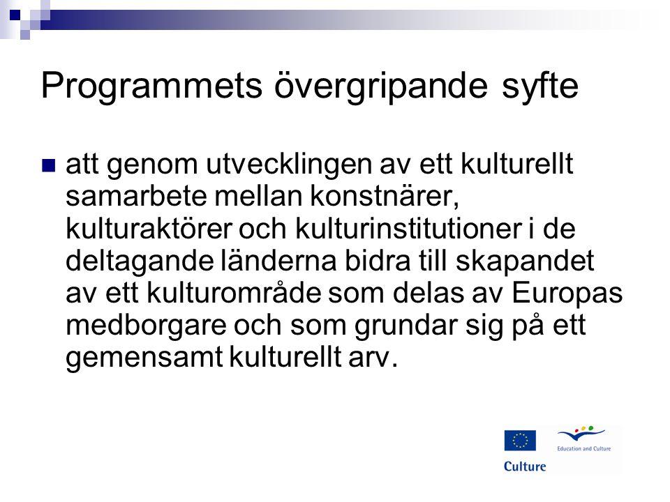 Programmets specifika syfte Att främja rörlighet över gränserna för personer som arbetar i kultursektorn.