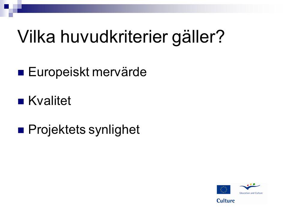 Vilka huvudkriterier gäller Europeiskt mervärde Kvalitet Projektets synlighet