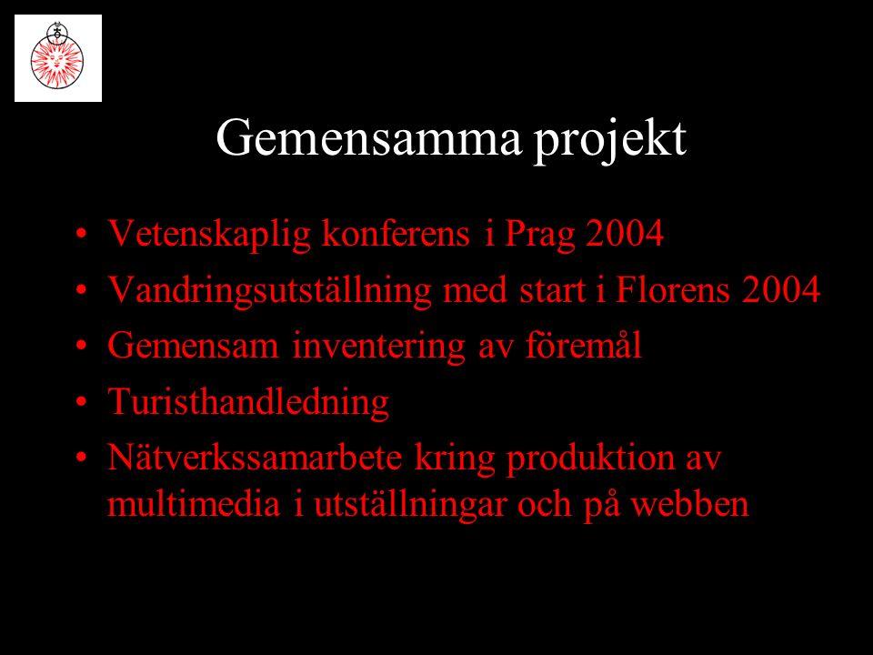 Gemensamma projekt Vetenskaplig konferens i Prag 2004 Vandringsutställning med start i Florens 2004 Gemensam inventering av föremål Turisthandledning Nätverkssamarbete kring produktion av multimedia i utställningar och på webben