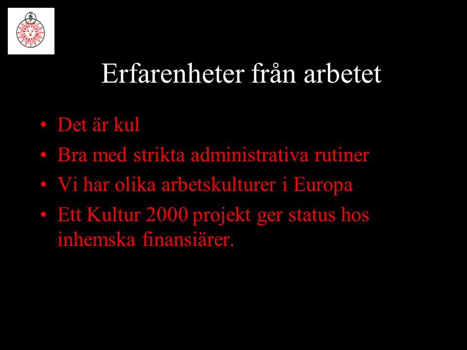 Erfarenheter från arbetet Det är kul Bra med strikta administrativa rutiner Vi har olika arbetskulturer i Europa Ett Kultur 2000 projekt ger status hos inhemska finansiärer.