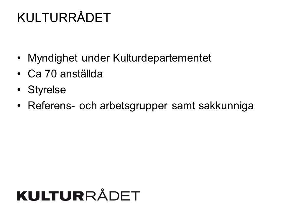 KULTURRÅDET Myndighet under Kulturdepartementet Ca 70 anställda Styrelse Referens- och arbetsgrupper samt sakkunniga