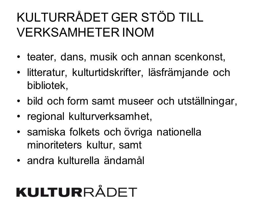 KULTURRÅDET GER STÖD TILL VERKSAMHETER INOM teater, dans, musik och annan scenkonst, litteratur, kulturtidskrifter, läsfrämjande och bibliotek, bild och form samt museer och utställningar, regional kulturverksamhet, samiska folkets och övriga nationella minoriteters kultur, samt andra kulturella ändamål