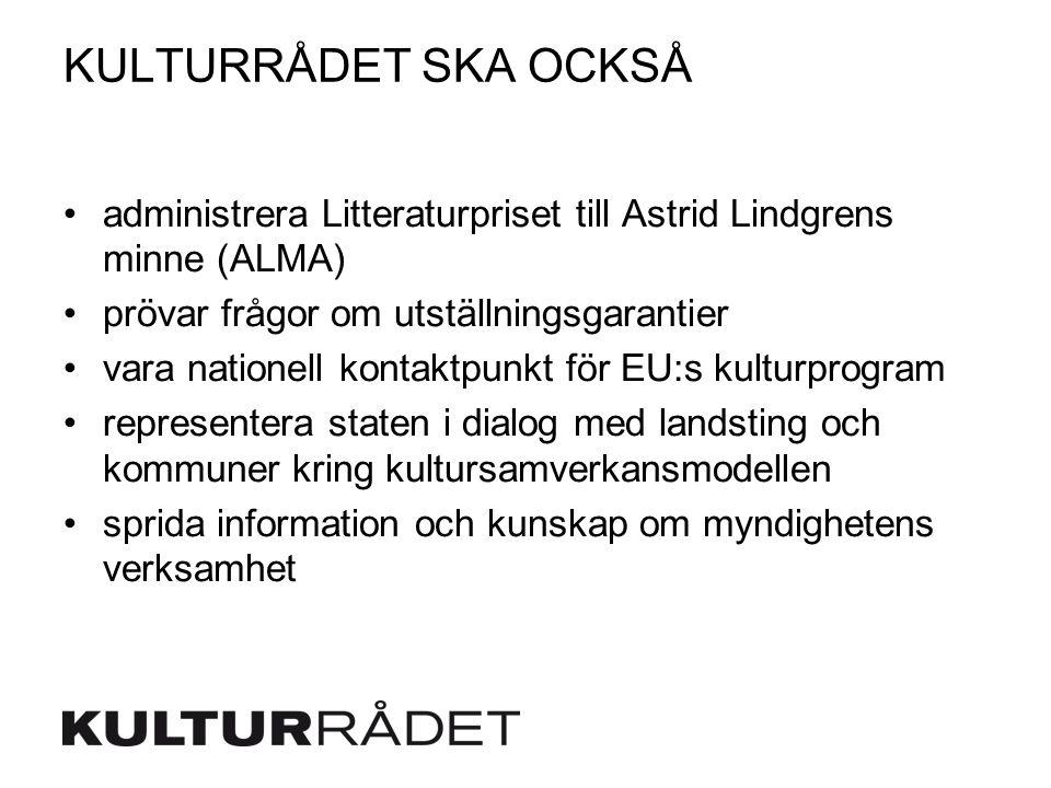 KULTURRÅDET SKA OCKSÅ administrera Litteraturpriset till Astrid Lindgrens minne (ALMA) prövar frågor om utställningsgarantier vara nationell kontaktpunkt för EU:s kulturprogram representera staten i dialog med landsting och kommuner kring kultursamverkansmodellen sprida information och kunskap om myndighetens verksamhet