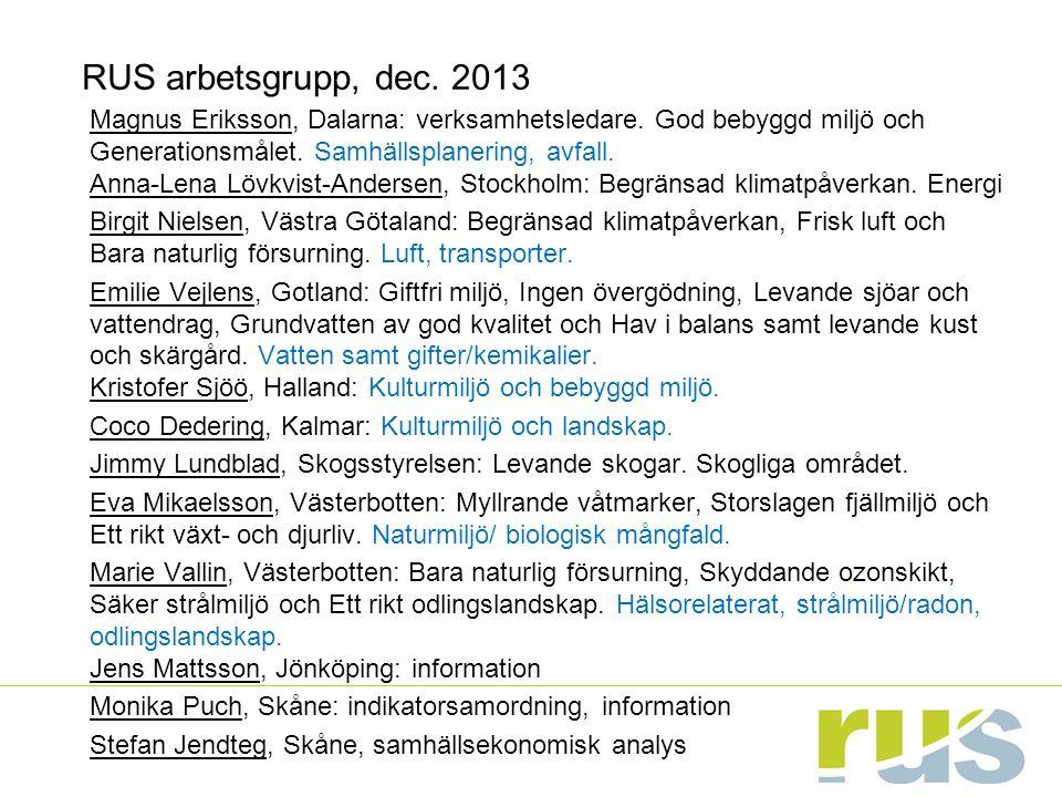 RUS arbetsgrupp, dec. 2013 Magnus Eriksson, Dalarna: verksamhetsledare.