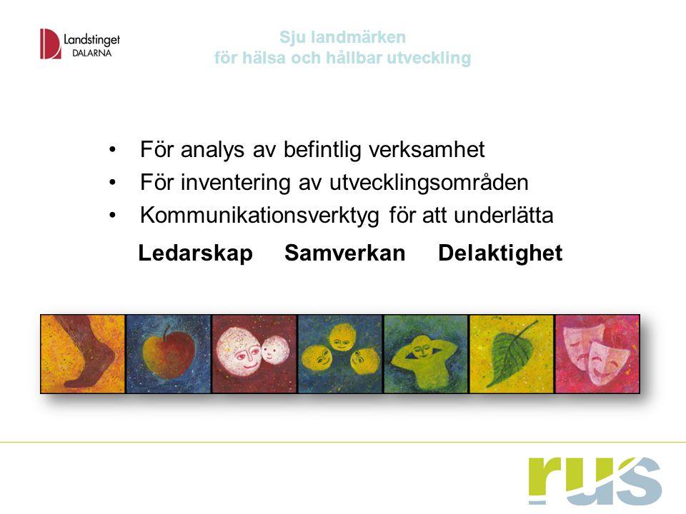 För analys av befintlig verksamhet För inventering av utvecklingsområden Kommunikationsverktyg för att underlätta Ledarskap Samverkan Delaktighet Sju landmärken för hälsa och hållbar utveckling