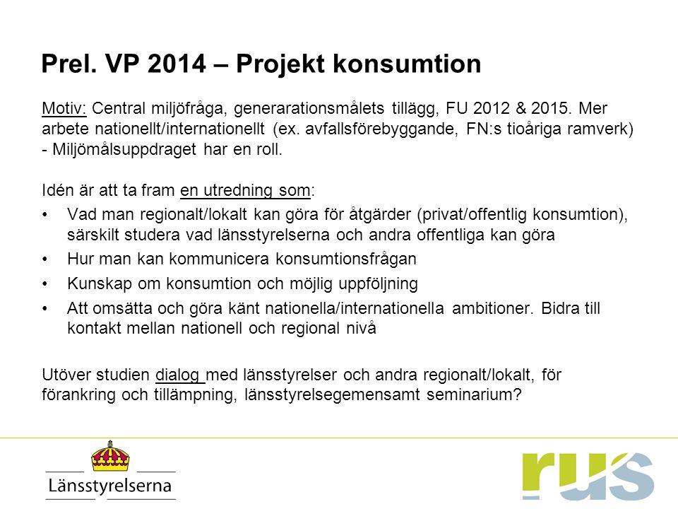 Prel. VP 2014 – Projekt konsumtion Motiv: Central miljöfråga, generarationsmålets tillägg, FU 2012 & 2015. Mer arbete nationellt/internationellt (ex.