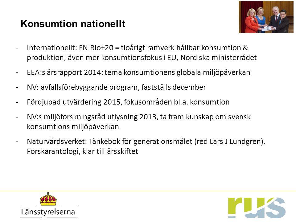 Konsumtion nationellt -Internationellt: FN Rio+20 = tioårigt ramverk hållbar konsumtion & produktion; även mer konsumtionsfokus i EU, Nordiska ministerrådet -EEA:s årsrapport 2014: tema konsumtionens globala miljöpåverkan -NV: avfallsförebyggande program, fastställs december -Fördjupad utvärdering 2015, fokusområden bl.a.