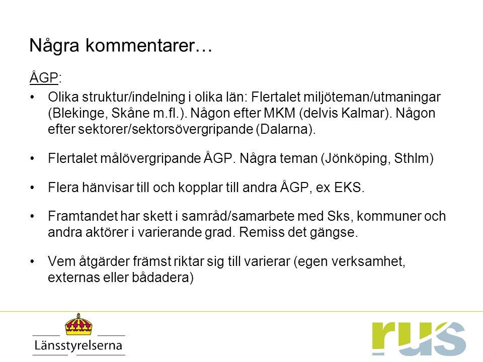 Några kommentarer… ÅGP: Olika struktur/indelning i olika län: Flertalet miljöteman/utmaningar (Blekinge, Skåne m.fl.).