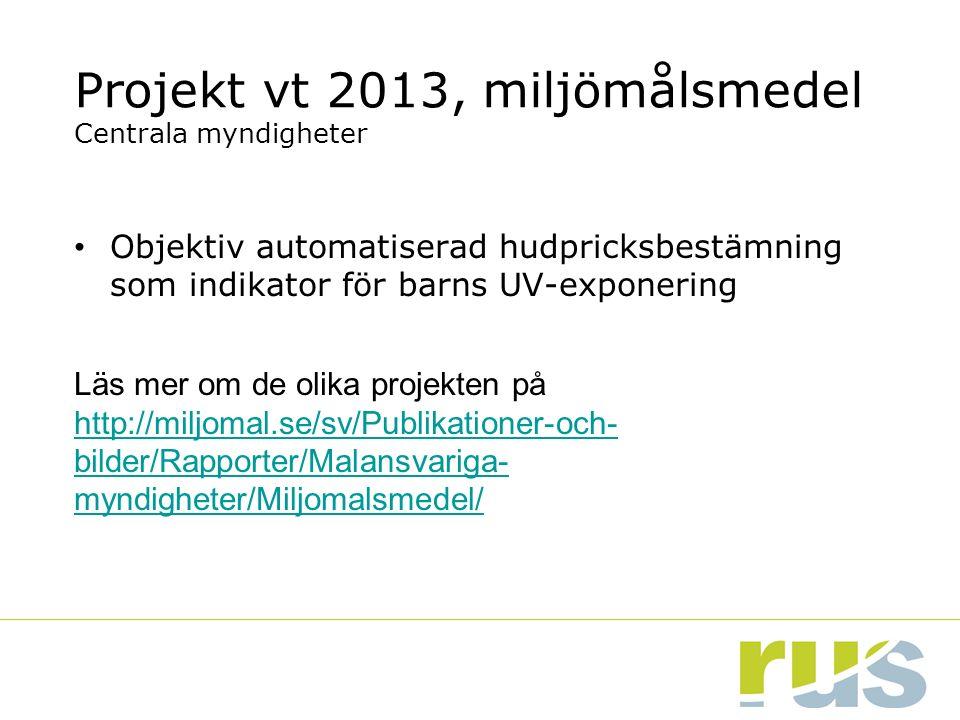 Projekt vt 2013, miljömålsmedel Centrala myndigheter Objektiv automatiserad hudpricksbestämning som indikator för barns UV-exponering Läs mer om de ol