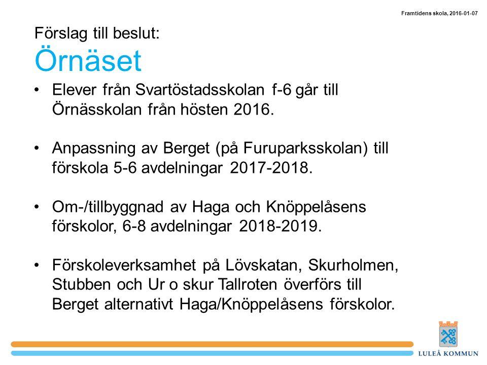 Förslag till beslut: Örnäset Elever från Svartöstadsskolan f-6 går till Örnässkolan från hösten 2016.